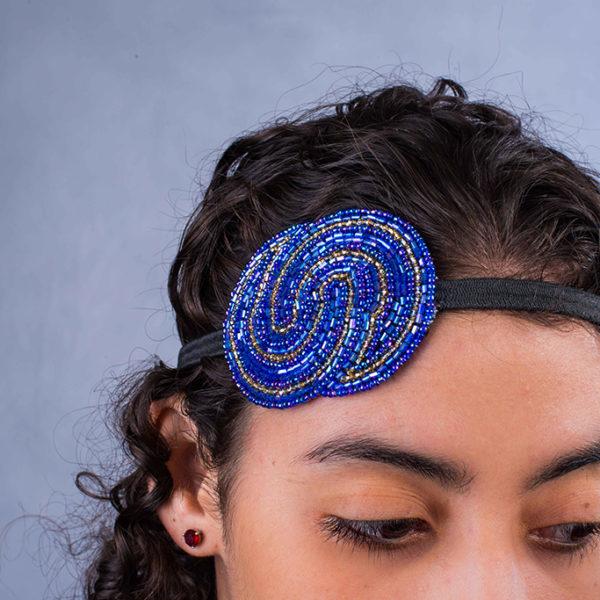 double s headband - blue
