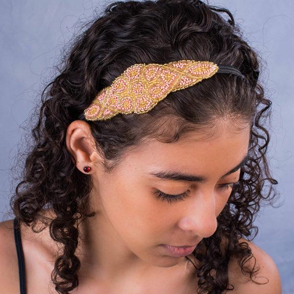 heart headband - gold and light pink