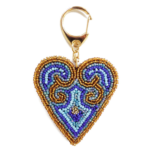 heart keychain - gold and blues